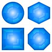 foto of octahedron  - Set blue vector eps10 icons - JPG