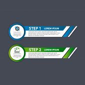 Vector Illustration. An Infographic Template With 2 Steps And An Image Of Two Rectangles. Use For Bu poster