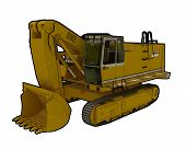 picture of jcb  - Perspective illustration of a digger with outline - JPG