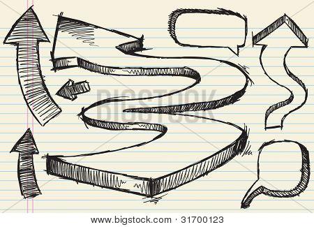 Flechas de doodle incompletos y discurso burbuja Vector ilustración Set