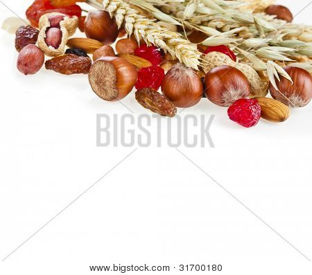 Healthy dried fruit and nuts with the spikelet of oats and wheat  isolated on white background