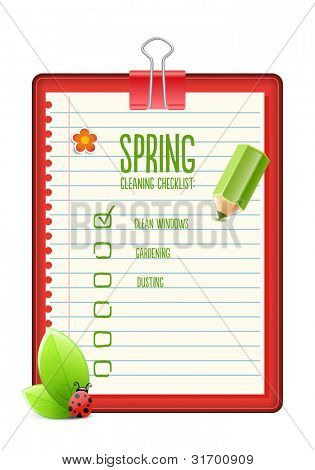 Spring cleaning checklist, illustration