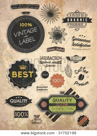 Retro labels set