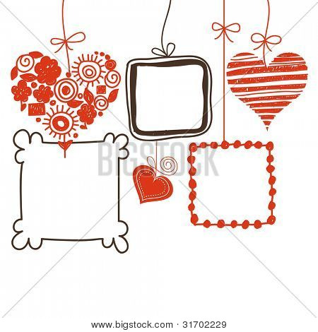 Hearts and doodle frames for text or photo