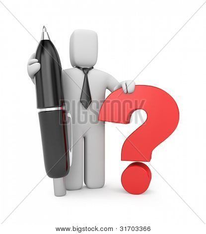 3d businessman with pen and question. Image contain clipping path