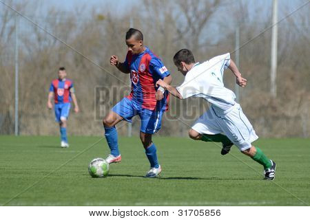 KAPOSVAR, HUNGARY - MARCH 17: Reis Teixeira (blue 10) in action at the Hungarian National Championship under 18 game between Kaposvar(white)  and Videoton (blue) March 17, 2012 in Kaposvar, Hungary.