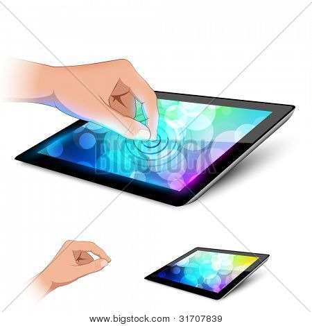 Man hand is touching tablet pc to make gesture. Variant on white background.
