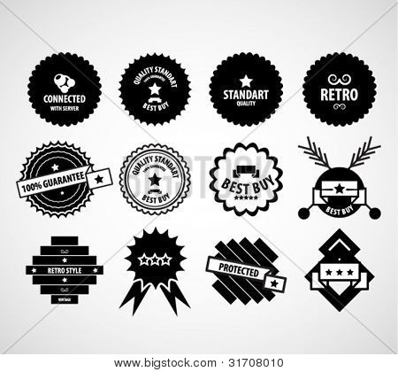 Black vintage vector design elements set satisfaction guaranteed, connected, retro, protected labels