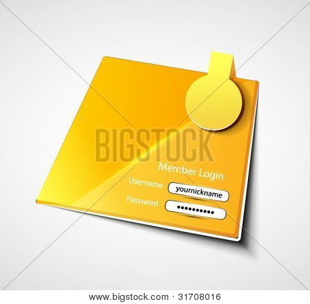 Vector yellow login sticker label page