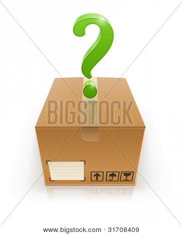 closed box with question mark vector illustration isolated on white background EPS10. Transparent objects and transparency mask used for shadows and lights drawing.