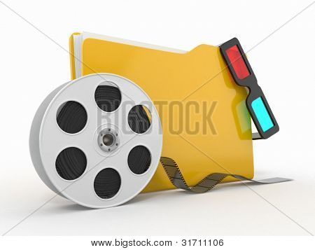 Multimedia folder. Film reel and 3d glasses on white background..