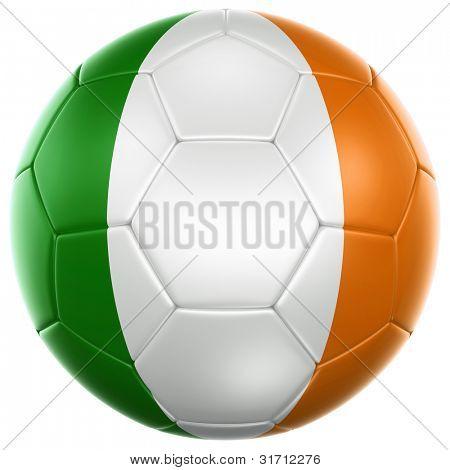 3D Rendering von einem irischen Fußball isoliert auf weißem Hintergrund