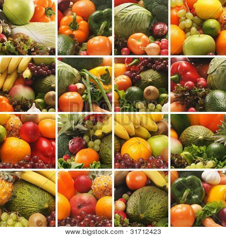 Collage made of many images of different fruits and vegetables