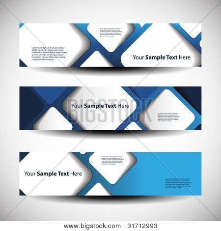 Vector set of three header designs