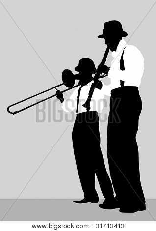 drawing of a mans with trombone and clarinet on stage