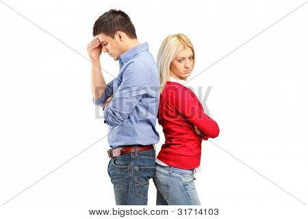 Couple with their backs turned after having an argument isolated against white background
