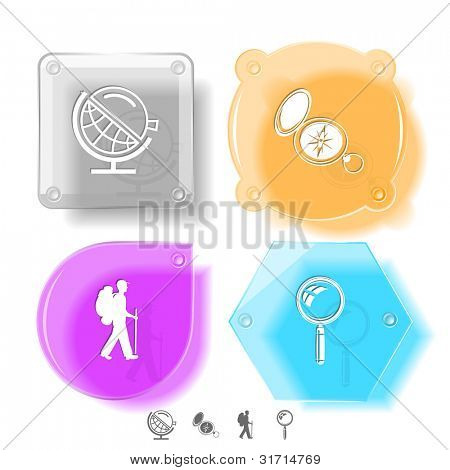 Education icon set. Magnifying glass, compass, traveller, globe and loupe. Glass buttons. Raster illustration.