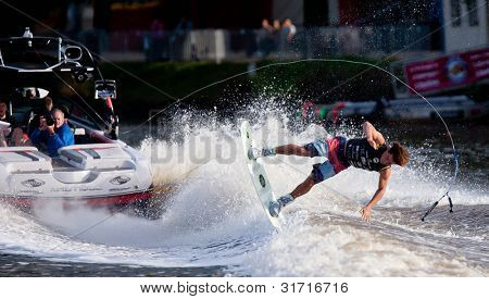 MELBOURNE, AUSTRALIA - MARCH 12: Mitch Daniel falls during the wakeboard event at the Moomba Masters on March 12, 2012 in Melbourne, Australia