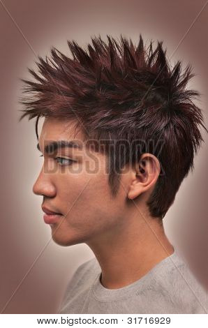 Asian man with a nice haircut and hairstyle