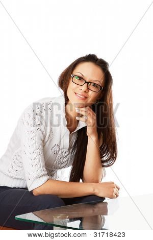 A young woman wearing glasses, isolated on white background