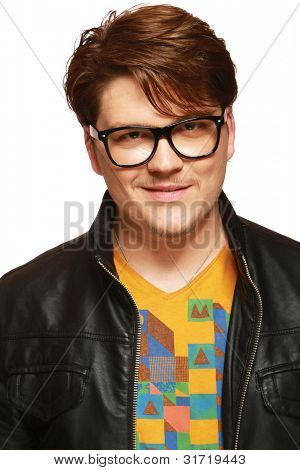 Casual a man in leather jacket and glasses isolated