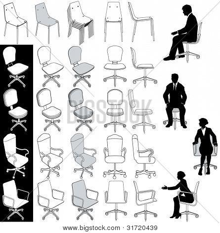 Sammlung von 5 Arten von Business-Bürostühle für Architektur-technische und andere Zeichnungen