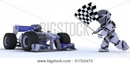 3D render de un Robot en el coche de carreras, ganando en la bandera a cuadros