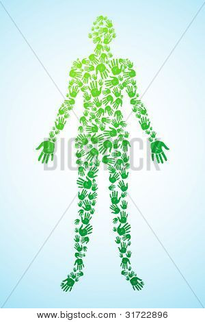 illustration of human body made of hand prints