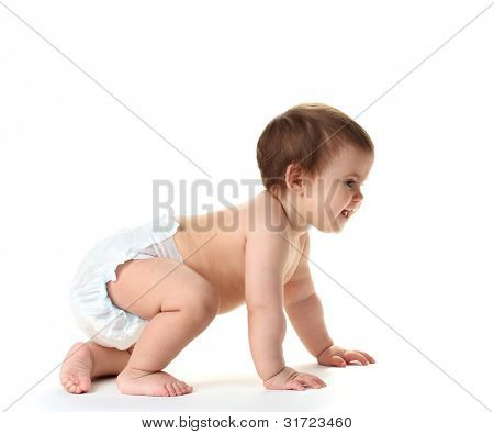 Cute baby girl crawling isolated on white