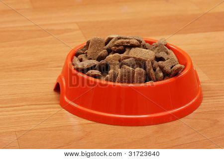 dry dog food in orange bowl on the floor