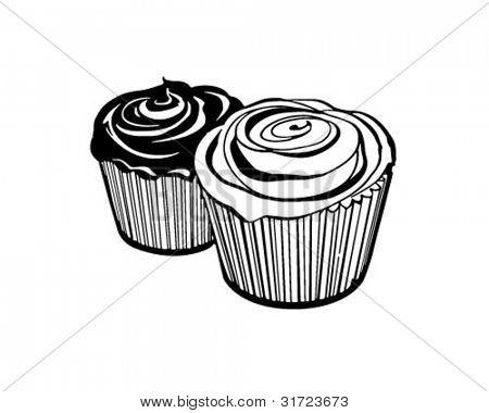 Cupcakes 2 - Ilustración imágenes prediseñadas Retro