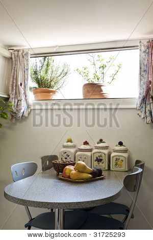 interior apartment, small loft furnished, small table