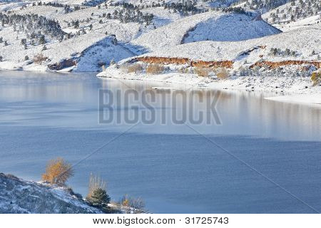 mountain lake in winter scenery - Horsetooth REservoir near Fort Collins, Colorado as viewed from Centennial Road