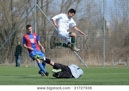 KAPOSVAR, HUNGARY - MARCH 17: Daniel Kara (goalkeeper) in action at the Hungarian National Championship under 18 game between Kaposvar (white) and Videoton (blue), March 17, 2012 in Kaposvar, Hungary.