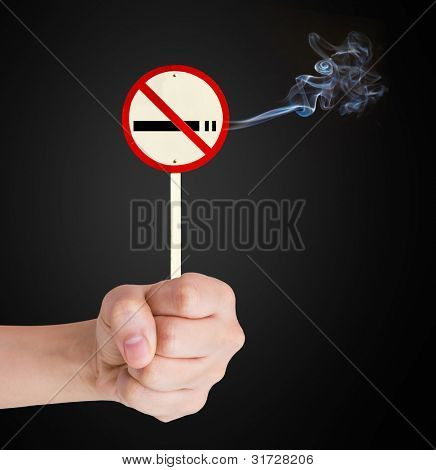 Hand Showing No Smoking sign