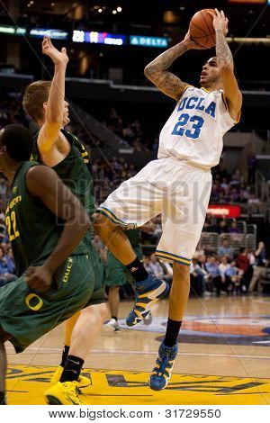 LOS ANGELES - MARCH 10: UCLA Bruins F Tyler Honeycutt #23 in action during the NCAA Pac-10 Tournament basketball on March 10 2011 at Staples Center.