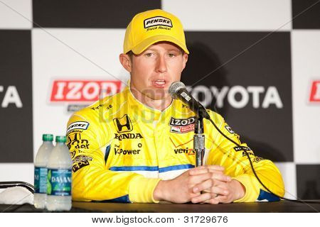 LONG BEACH - APRIL 17: Ryan Briscoe driver of the #6 Penske Truck Rental Team Penske Honda during the post race press conference of the IndyCar Series Toyota Grand Prix on April 17 2011 in Long Beach.