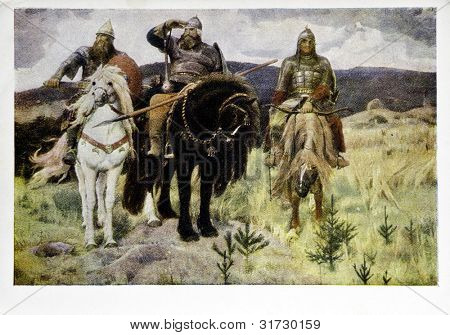 USSR - CIRCA 1959: Postcard printed in the USSR shows painting of the artist Victor Vasnetsov 'Giants' from the collection of the State Tretyakov Gallery, circa 1959