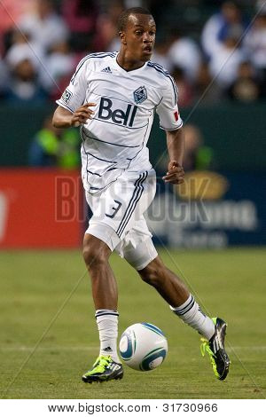 CARSON, CA. - JUNE 1: Vancouver Whitecaps FC D Bilal Duckett #3  during the MLS game between Vancouver Whitecaps & Chivas on June 1 2011 at the Home Depot Center.