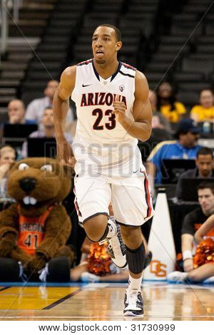 LOS ANGELES - MARCH 10: Arizona Wildcats F Derrick Williams #23 during the NCAA Pac-10 Tournament basketball game on March 10 2011 at Staples Center in Los Angeles.