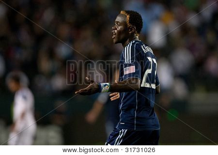 CARSON, CA. - MAY 14: Sporting Kansas City F Kei Kamara #23 during the MLS game between Sporting Kansas City and the Los Angeles Galaxy on May 14 2011 at the Home Depot Center.