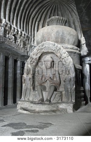 Ancient Statue Of Buddha In Cave Temple At Ellora
