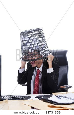 Businessman With Rubbish Bin