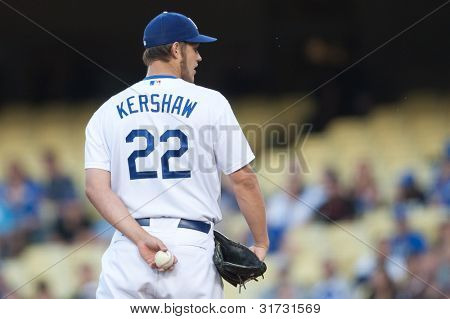 LOS ANGELES - MAY 13: Los Angeles Dodgers P Clayton Kershaw #22 during the MLB game between the Arizona Diamondbacks & the Los Angeles Dodgers on May 13 2011 at Dodger Stadium in Los Angeles.