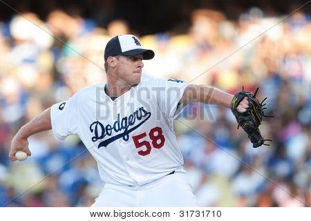 LOS ANGELES - 30 de maio: Los Angeles Dodgers P Chad Billingsley #58 arremessos durante o jogo MLB entre