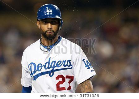 LOS ANGELES - 9 de abril: Los Angeles Dodgers CF Matt Kemp #27 durante o jogo MLB entre o Atlanta