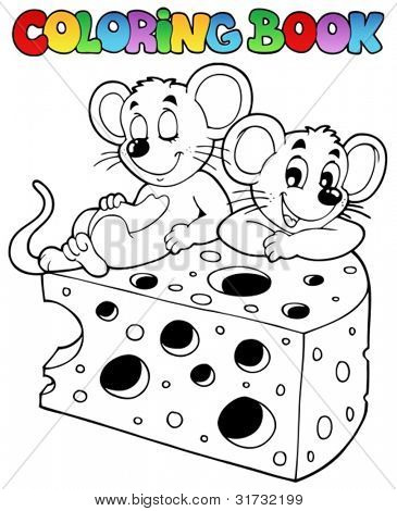 Coloring book with mouse 1 - vector illustration.