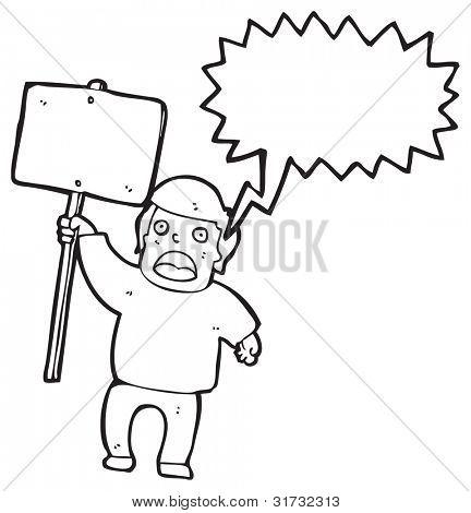 cartoon man with sign chanting