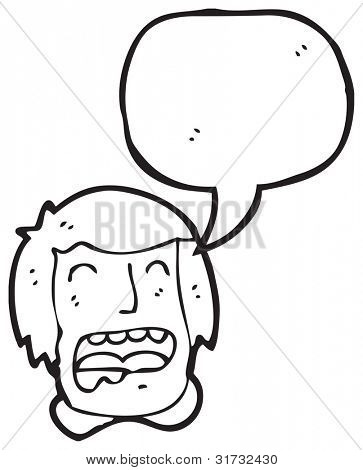cartoon drooling man with speech bubble