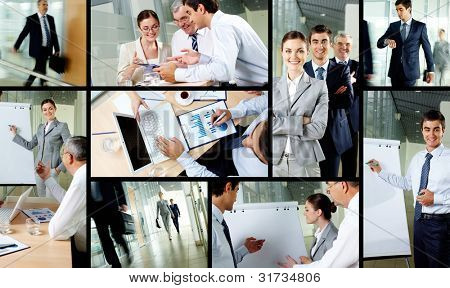 Collage of business partners working in office